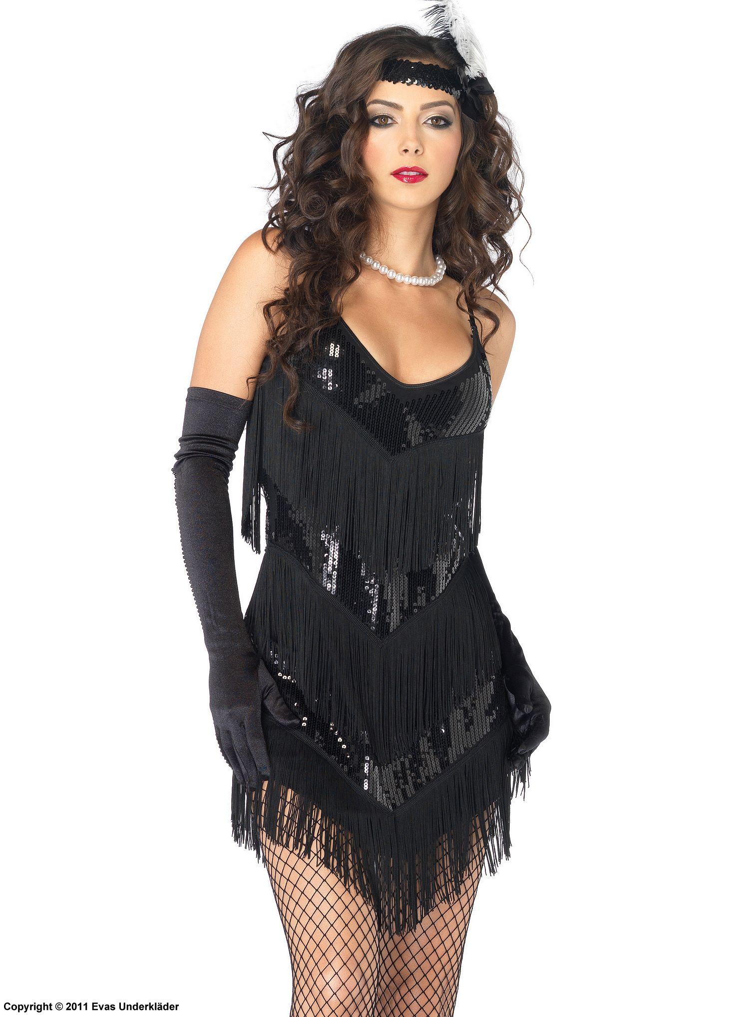 20 tals klänning med fransar och paljetter, maskeradkläder